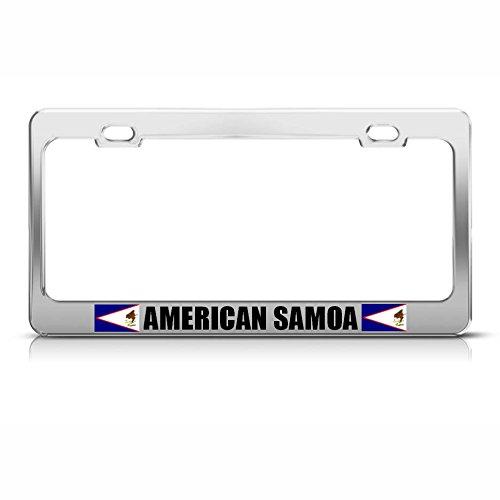 Moon American Samoa Flag Chrome Heavy Duty Steel License Plate Frame Tag Holder Perfect for Men Women Car garadge Decor