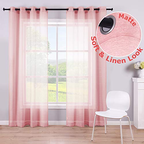 108 Inch Pink Sheer Curtain Panel for Girls Bedroom Party Decoration Baby Shower Weddings Transparent Voile Drape Backdrop Curtains Blush Pink 52x108 Inch Length Grommet 2 Panels Extra Long Blush Pink (Diy Baby Shower Decorations On A Budget)