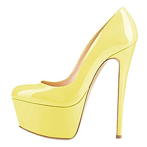 Onlymaker Womens Sexy Platform Round Toe High Heels Slip On Stiletto Party Dress Pumps Yellow 13 M US