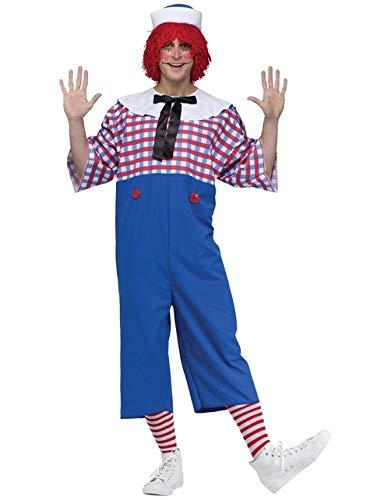 Male Ragdoll Costume (Fun World Men's Raggedy Andy Adult Costume, Multi,)