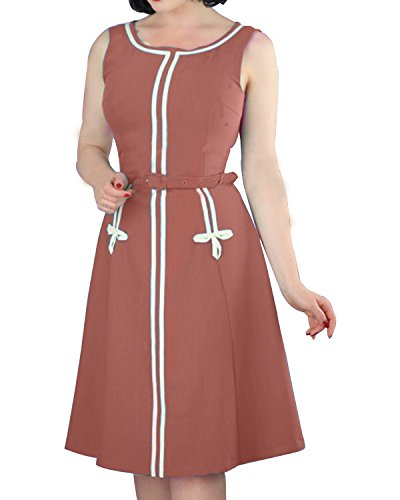 1960's Clothing (Women's Plus Size 1960s Vintage Crew Neck Sleeveless A-line Midi Dress with Belt Pink 20W)