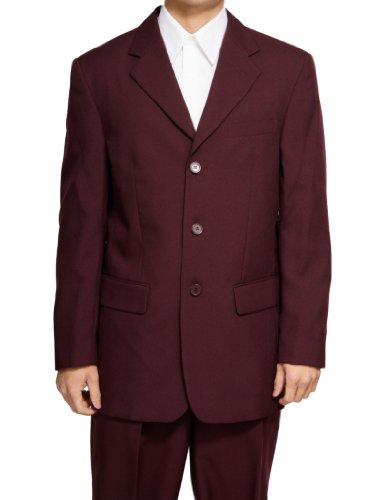 New Men's 3 Button Single Breasted Burgundy / Maroon Dress Suit