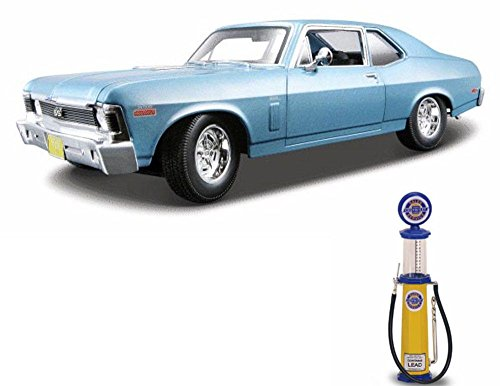 1970 Cars Chevy (Chevy Diecast Car & Gas Pump Package - 1970 Chevy Nova SS Coupe, Blue - Maisto 31132 - 1/18 scale diecast model car w/Gas Pump)