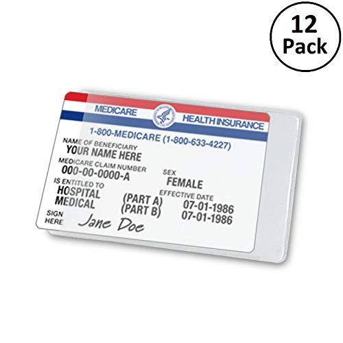 Clear Large Medicare Card Size Credit Card Protector Sleeves, 6 Mil Thickness, 12 Pack
