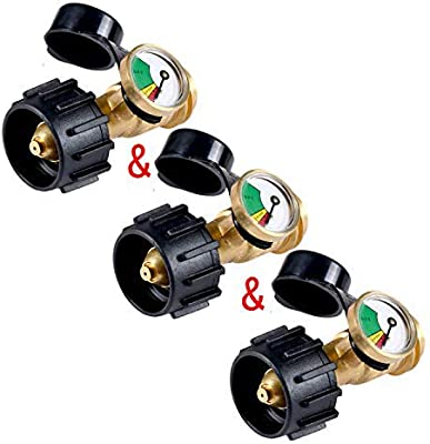 GasSaf Propane Tank Gauge Level Indicator-Universal QCC1 Propane Tank、Heater Grill and Other Gas Pressure Meter (3 Pack)