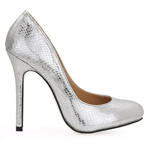 verni Silver goût chaussures noir printemps de snakeskin talon Chaussures fine tête cuir à ronde en haut à Le ZBdawqZ