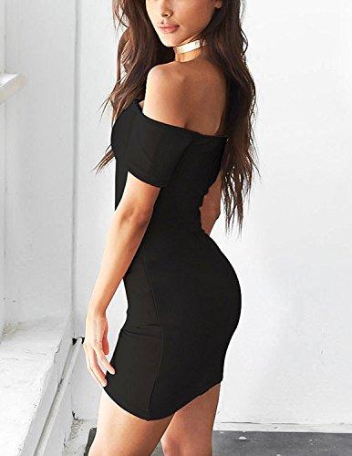 MODETREND Mujer Verano Vestidos Delgado Corto Manga Corta de Off Shoulder Cóctel Fiesta Vestido de Noche Negro