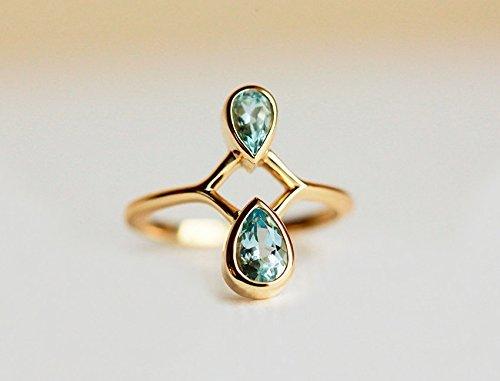 Gold Aquamarine Ring, Pear Aquamarine Ring, 18k Solid Gold