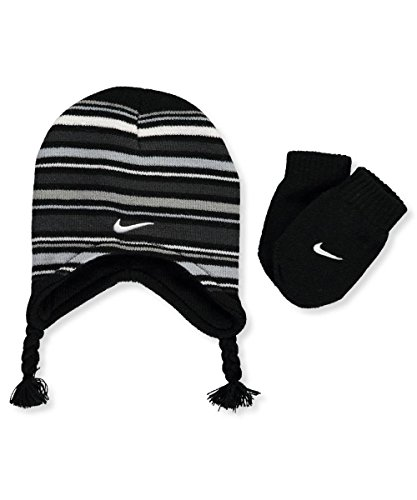 Nike Boys Size 12-24 Months Black Knit Striped Peruvian Hat/Mittens Set (Striped Flap Hat)
