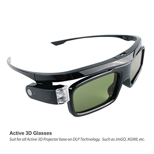 Active 3D Glasses DLP-Link Liquid Crystal Shutter Rechargeable 3D Glasses for JmGO XGIMI All DLP Technology 3D Projectors by CACACOL
