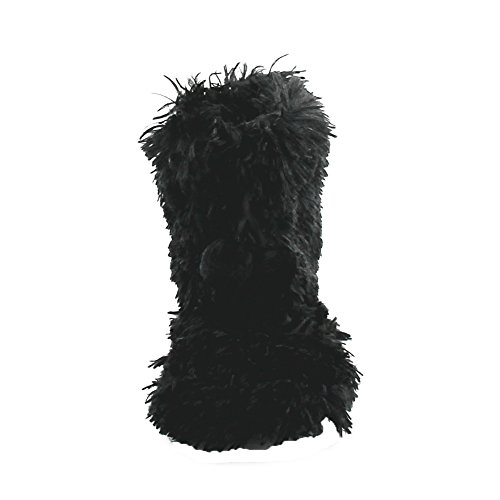 Gohom Fur Slipper Black Boots Black Fringes Indoor Women's Faux Fuzzy ww7B6