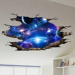 Peoria Creative 3D Blue Cosmic Galaxy Wall Decals, Visual Removable Wall Magic 3D Milky Way Outer Space Planet Vinyl Sticker Decals Decor Art Bedroom Design Mural