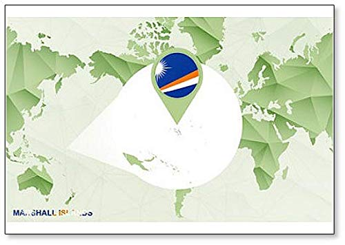 (World Map with Magnified Marshall Islands Map Illustration Fridge Magnet)