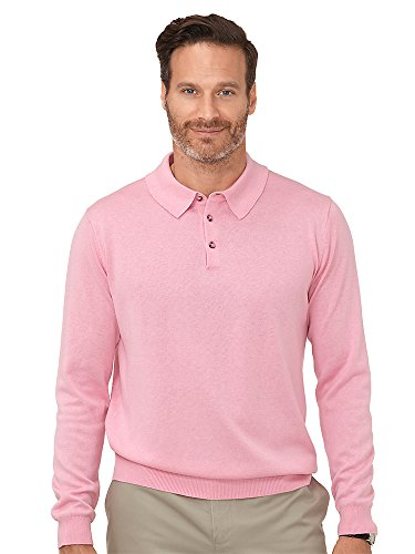 Cashmere Polo - Paul Fredrick Men's Silk, Cotton \ Cashmere Polo Sweater Light Pink XL