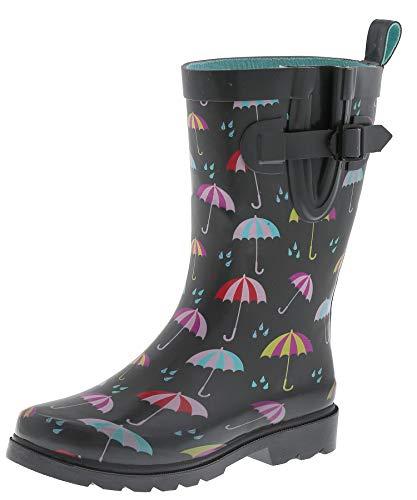 Capelli New York Ladies Umbrella Rainy Day Printed Mid Calf Rain Boots 9, Black Stripe Grey Umbrella