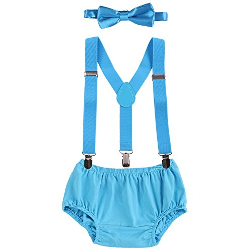 FYMNSI Newborn Baby Boys 1st/2nd Birthday Cake Smash Photo Props Shorts Bloomers Y Back Suspenders Bowtie 3pcs Outfits