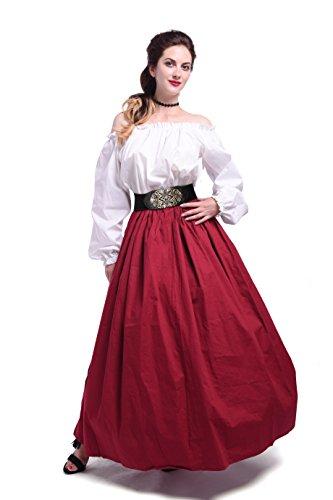 Women Medieval Dress Renaissance Maiden Victorian Costume Dress GC277A-F-3+GC277A-L-1+GC228A-P4 (Costume Medieval Maiden)