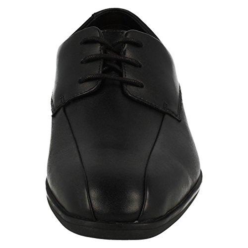 Clarks muchacho de Willis bootleg zapato escolar de niños en cuero negro Black Leather