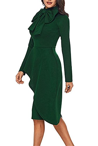 Benegreat Longue Cravate Taille Peplum Femme Manches Cou Moulante Cocktail Robe Verte