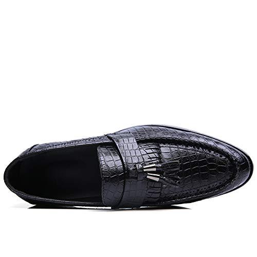 de de Serpiente de con Jusheng Pedal un de Marrón Formales Oxford Flecos EU Estrecha Negro Piel tamaño Casual Negocio los Punta de Classic Oxford Zapatos pie Color Hombres 39 PCCwRq5ZT