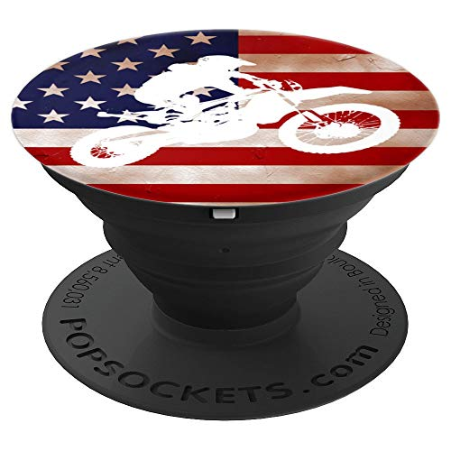 Dirt Bike Motocross Vintage USA American Flag Gift for Guys - PopSockets Grip and Stand for Phones and Tablets (Best Bike For Tall Guys)