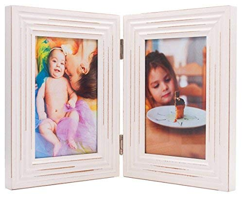 ZingVic Double Folding 4x6 White Wood Picture Frame with Glass Front - American Class Style Antiquated - Stands Vertically on Desktop or Table Top ()