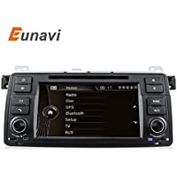 Car Stereo with Navigation, Eunavi 1 din In Dash Car GPS Radio 7 HD Touch Screen Car DVD Player for BMW E46 3 Series M3 Bluetooth Autoradio Navigation with Steering wheel Free Backup Camera and Map