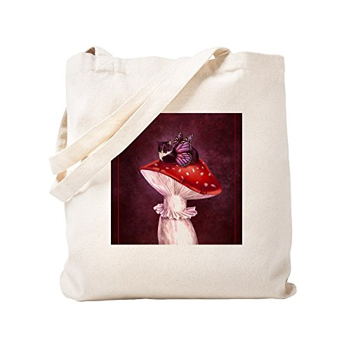 CafePress Mushroom Fairy Cat Natural Canvas Tote Bag, Cloth Shopping Bag