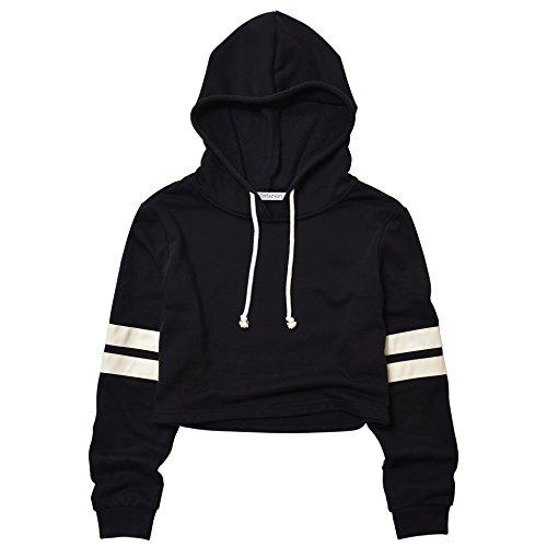 (Perfashion Sexy Crop top Sweatshirt Cropped Sweatshirt (M, Striped Black Hoodie))