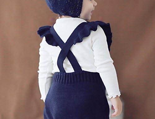 41zcISg1sZL. AC - Pinleck Baby Girls Knitted Ruffle Cute Romper Cross Bandage Jumpsuit Bodysuit