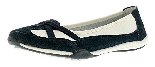 Ever So Soft Damen Beschichtetes Leder ohne Bügel Bequeme Schuhe Leder Futter und Socke, Polsterung für Zusätzlichen Komfort TPR Laufsohle - Blau - UK Größen 3-8