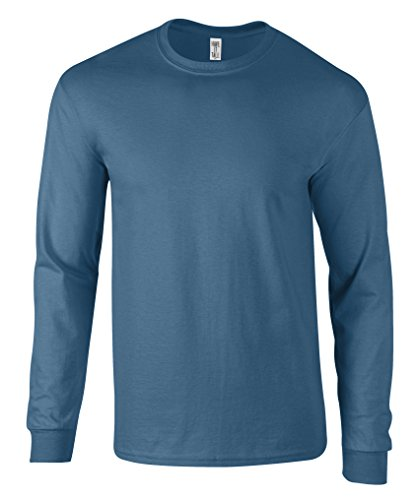 Have It Tall Men's Long Sleeve T Shirt Premium Ringspun Cotton Made in USA Blue Jean Medium Tall