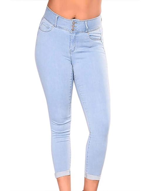 f8027d6d2b Donna A Vita Alta Leggings Elastico Skinny Jeans Pantaloni in Denim ...