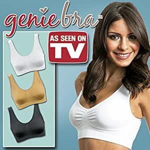 Genie Bra 3 in Set (One Nude One Black One White) *As Seen on Tv - Small