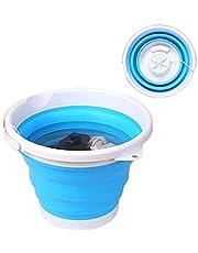 3in1 draagbare mini-badwasmachine, opvouwbare persoonlijke compacte ultrasone turbines roterende wasmachine, USB-aangedreven handige wasmachine, ruimtebesparende wasbak (blauw)