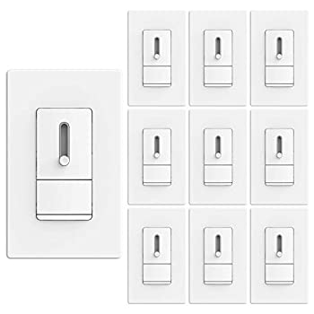 Image of [10 Pack] BESTTEN Dimmer Switch for Dimmable LED Light, CFL Lamp, Incandescent, Halogen Bulb, Single Pole or 3-Way, Vertical Slide Dimming Control, Screwless Wall Plate Included, UL Listed, White Home Improvements