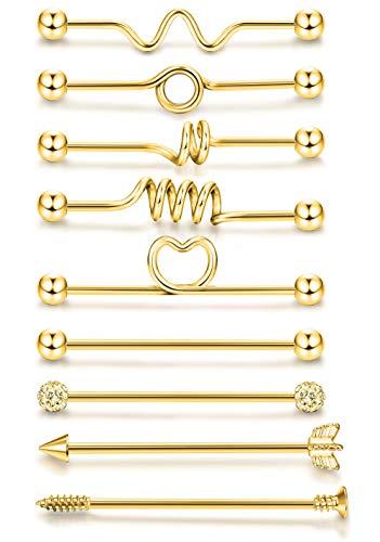 ORAZIO 9PCS 14G Industrial Barbells Cartilage Earrings Body Piercing Jewelry 38MM Gold Tone