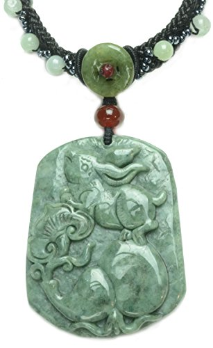 Rabbit Chinese Zodiac - Gorgeous Fortune Rabbit Carved Green Jade Amulet Necklace - Feng Shui Chinese Zodiac
