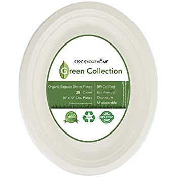 Compostable Luncheon Plates- Eco Friendly Natural Bagasse Sugarcane Dinnerware Set, 25-Count, 10 Inch Oval Platter