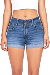 Mid rise denim shorts with triple mini buttons and zip fly closure in front. Cuffed along the bottom edges with traditional 5 pockets. Descent stretch in the material for a comfortable fit.