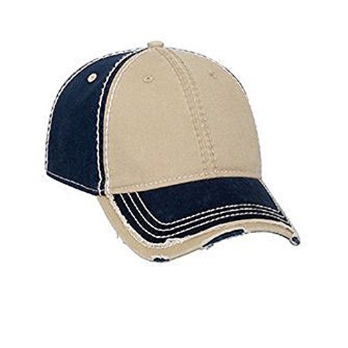 Vintage Washed Cotton Twill Frayed Bill Cap - Navy Khaki OSFM