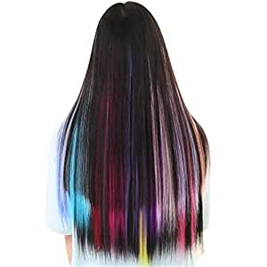 60cm Colored Party Highlights Straight Hair Clip Extensions. Heat-Resistant Synthetic Hair Extensions in red Colors