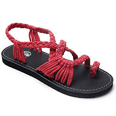 Trary Women's Summer Hand Woven Braided Flat Sandals Red Size: 5
