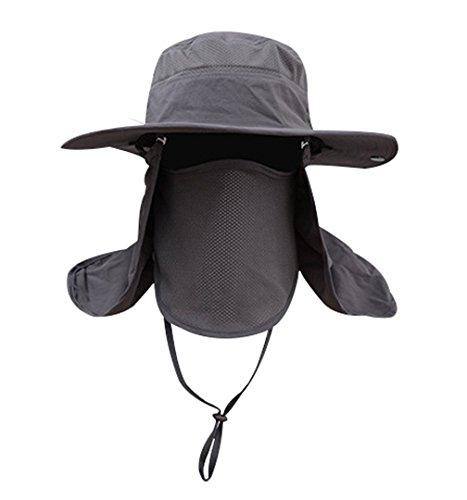 Men Women Outdoor Hat with Wide Brim Sun Protection Summer Cap (Dark Grey)