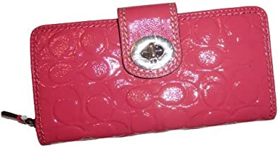 Women's Coach Turnlock Embossed Patent Leather Accordian Zip Around Wallet Rose