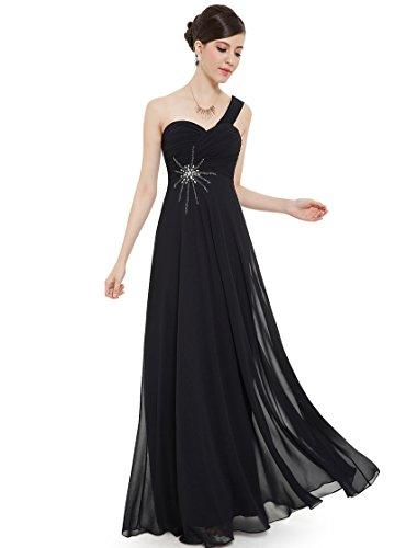 Ever Pretty vestido de noche largo de gasa, un hombro, 08077 negro