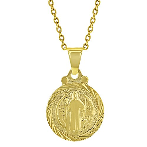 - In Season Jewelry 18k Gold Plated San Benito St Saint Benedict Small Medal Kids Necklace 16