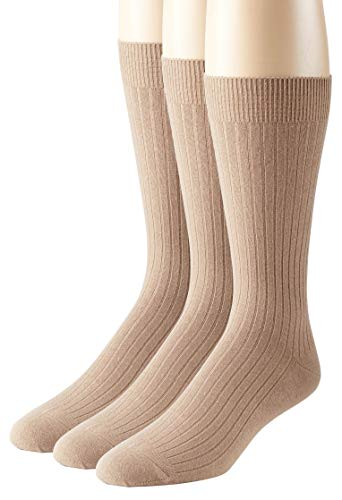 Sportoli Men's 3 & 6 Pack Soft Ribbed Knit Classic Cotton Mid-Calf Crew Dress Socks - Khaki (13-15)
