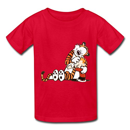 Kids Boys Girls Tee Shirt Thomas Calvin And Hobbes Tiger Animation Red Size S