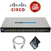 Cisco SF200-48 48-Port 10/100 Ethernet Smart Switch (No PoE) Spare CAT5 Ethernet Cable + Extended Warranty